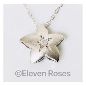 Jewelry - 14k Gold Diamond Plumeria Flower Pendant Necklace